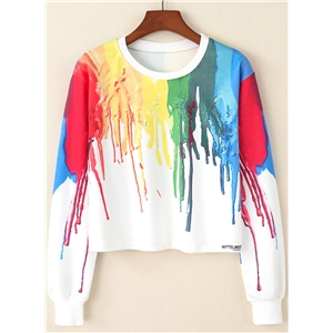 Round Neck Long Sleeve Color Block Pullover