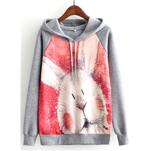 Long Sleeve Printed Fleece Hoodie