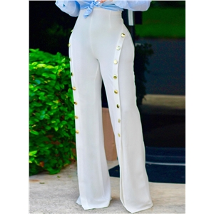 High Waist Double Breasted Slit Wide-Leg Pants
