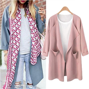 Fashion Autumn Women Waterfall Sleeve Pockets Long Cardigan Loose Casual OL Work Elegant Solid Coat Outerwear Jacket