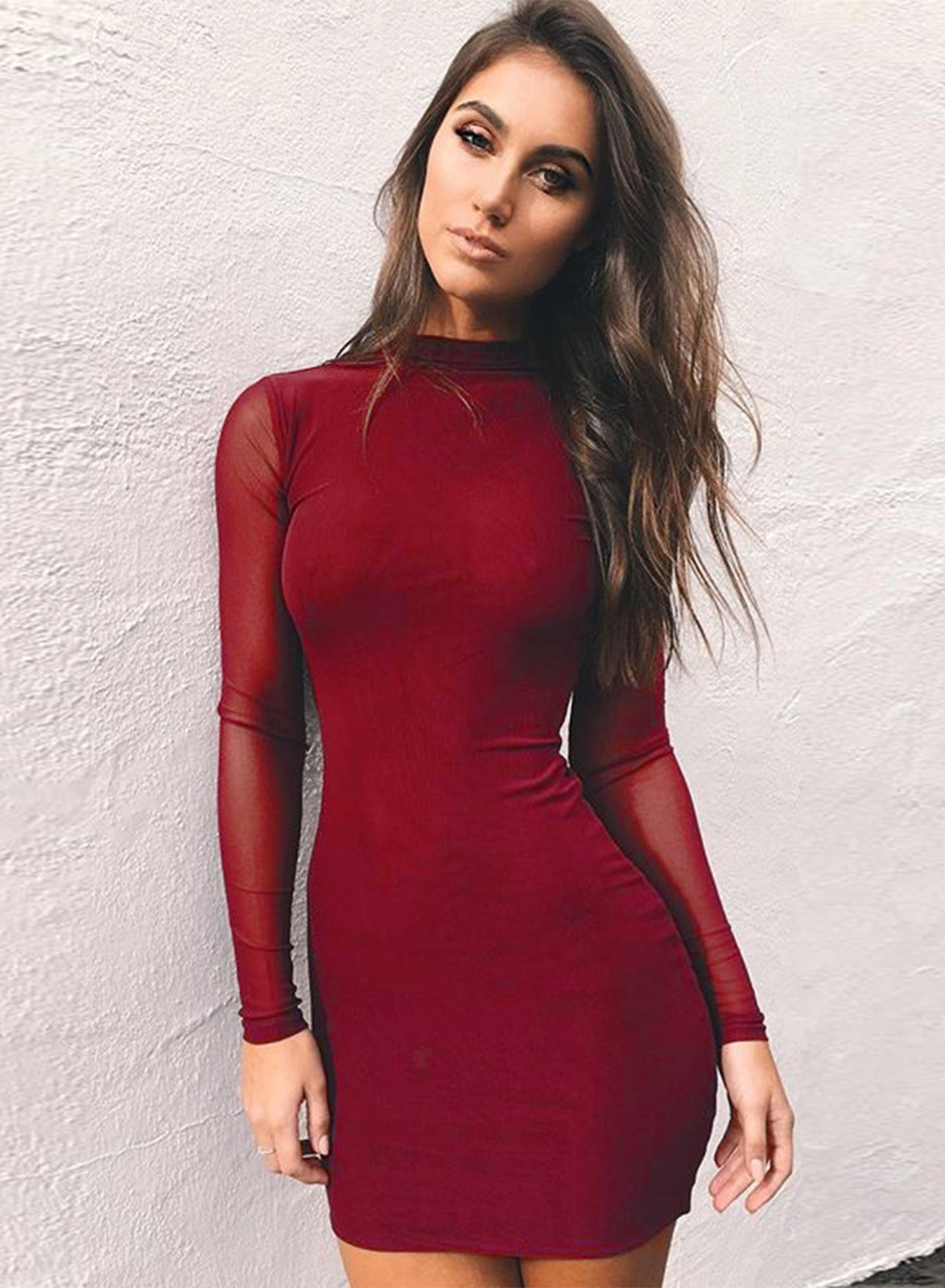 Solid Mock Neck Long Sleeve Mesh Bodycon Dress Victoriaswing