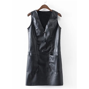 V Neck Sleeveless Solid Color PU Leather Bodycon Dress