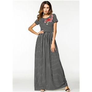 Round Neck Short Sleeve Floral Embroidery Striped Maxi Dress