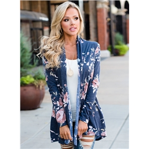 Fashion Floral Print Lightweight Cardigan
