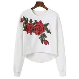 Round Neck Long Sleeve Floral embroidery Sweatshirt
