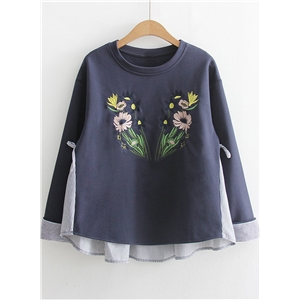 Round Neck Long Sleeve Floral Embroidery Striped Sweatshirt