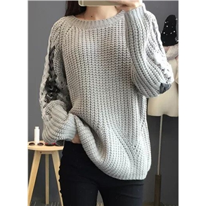 Round Neck Long Sleeve Lace-up Sweater