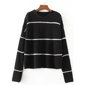 Fashion Stripe Long Sleeve Loose Pullover Sweater
