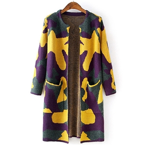 Fashion Long Sleeve Camouflage Open front Knit Cardigan
