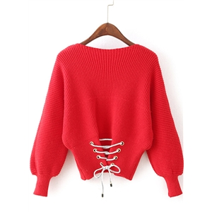 Round Neck Lantern Sleeve Solid Color Sweater