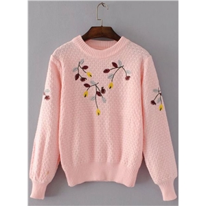 Round Neck Long Sleeve Floral Embroidery Sweater
