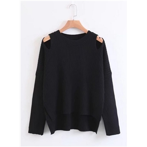 Round Neck Off Shoulder Asymmetric Sweaters