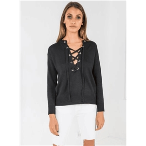 Round Neck Long Sleeve Lace Up Solid Sweaters