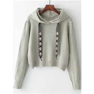 Hooded Long Sleeve Solid Color Crop Top Sweater