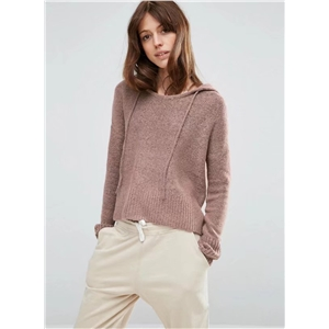 Long Sleeve Solid Color Pullover Hooded Sweater