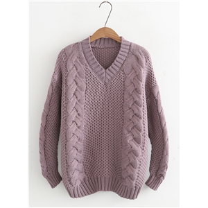 V Neck Long Sleeve Solid Color Pullover Sweater