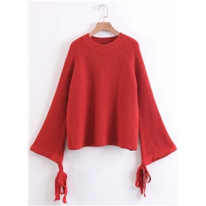 Round Neck Flare Sleeve Solid Color Sweater