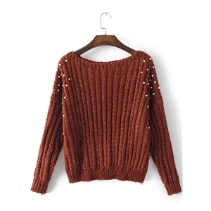 Round Neck Long Sleeve Solid Color Pearls Decoration Sweater