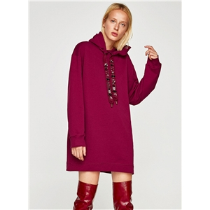 Hooded Long Sleeve Solid Color Casual Dress