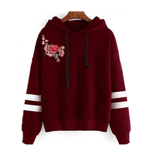 Fashion Floral Embroidery Striped Pullover Hoodie