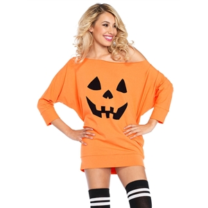 Halloween Pumpkin Mini Jersey Mini Dress