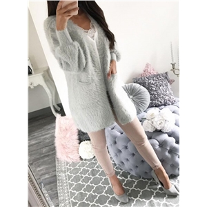 Long Sleeve Open Front Plush Coat