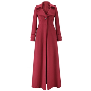 Fashion Long Sleeve Single Button Maxi Trench Coat