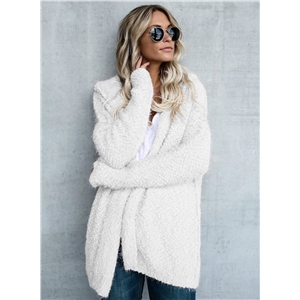 Solid Color Open Front Long Sleeve Sweater Coat
