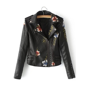 Studded Floral Embroidery PU Jacket