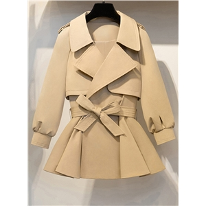 Fashion Lantern Sleeve Peplum Trench Coat with Belt