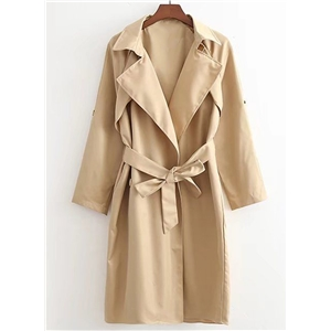 Turn Down Collar Long Sleeve Solid Color Coat with Belt