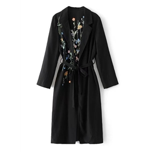 Turn Down Collar Long Sleeve Floral Embroidery Coat with Belt