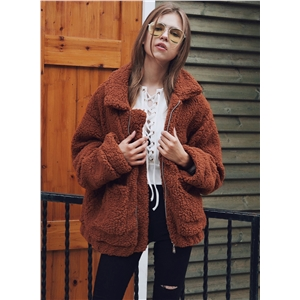 Solid Color Berber Fleece Turn-down Collar Warm Coat