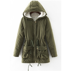 Solid Color Drawstring Waist Cotton Padded Coat