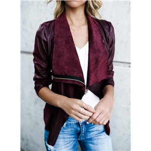 Solid Color Open Front Long Sleeve Suede Jacket