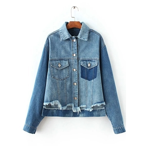 Turn Down Collar Long Sleeve Denim Coat