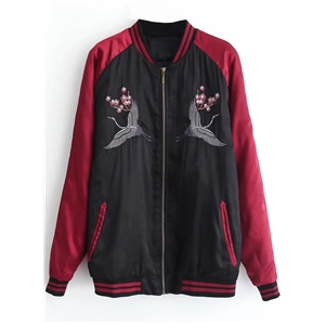 Stand Collar Color Block Embroidery Cotton Padded Jacket