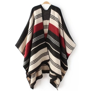 Color Splicing Batwing Sleeve Open Front Cardigan