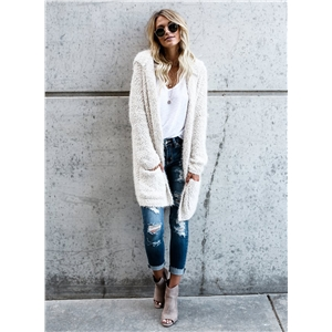 Solid Color Open Front Long Sleeve Hooded Cardigan Sweater