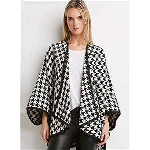 Open Front Batwing Sleeve Plaid Coat