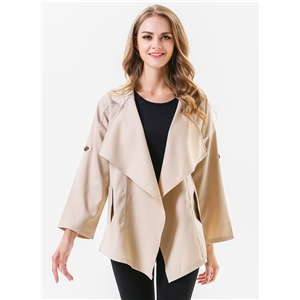 Turn Down Collar Long Sleeve Asymmetric Solid Color Coat