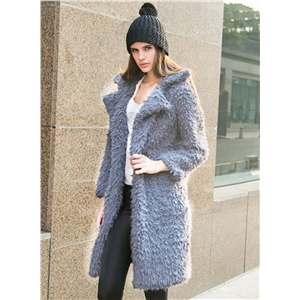Turn Down Collar Long Sleeve Solid Wool Coats
