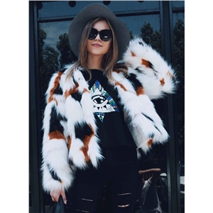 Colorful Faux Fur Open front Coat