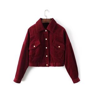 Turn Down Collar Long Sleeve Button Down Solid Color Jacket