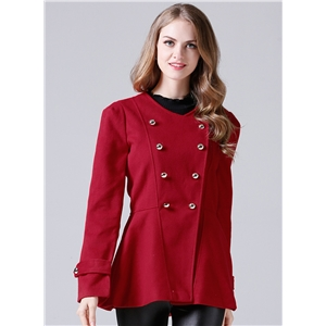 Round Neck Long Sleeve Solid Color Coat