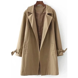 Long Sleeve Open front Loose Trench Coat with Belt