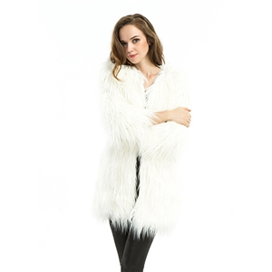 Long Sleeve Solid Color Faux Fur Coat