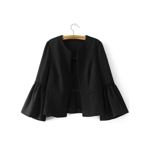 Open Front Flounce Sleeve Blace Solid Coat