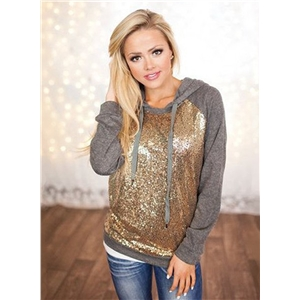 Long Sleeve Sequin Panel Hoodie Sweatshirt