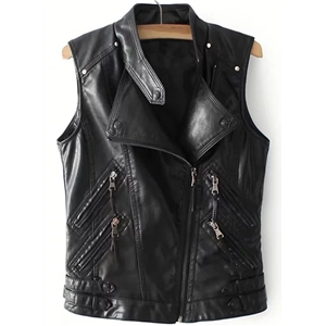 Fashion Faux Leather Motorcycle Vest Outwear